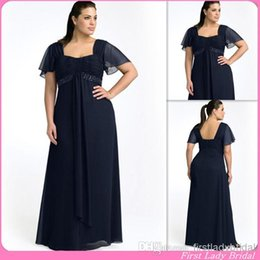 Wholesale Formal Navy Blue Short Sleeves Plus Size Special Occasion Dresses A line Square Prom Party Gowns Long Evening Dress Custom Made Cheap China