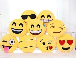 Coussin mignon Belle Emoji Oreiller Cartoon Visage QQ Expression Coussin rond jaune oreiller peluche peluche PP Coton