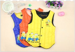 Wholesale minion vests Despicable Me Minion Children down vests winter thickening children sleeveless vest Minions down waist coat D1581