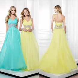 Wholesale Stunning Cheap Backless Prom Dresses Elegant Beaded Dresses Yellow Aqua Chiffon A Line Halter Crystals Sexy Backless Evening Gowns