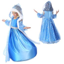 Wholesale 2015 spring Hot Baby girls Anna and Elsa coronation party princess dresses lace dresses of Kids clothing