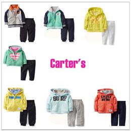 Wholesale Carter s Sweater Sweatshirt Suit Fleeces Outfits Two Piece Set Cool Baby Kids Boys Hoodie Top Pants Suits Children s Clothing Set
