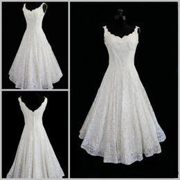 online shopping Plus Size Lace Wedding Dresses V neck Sexy Tea Length Short Beach Wedding Dress Actual Imagine A line Sleeveless Bridal Wedding Gown