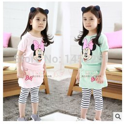 Letty baby children girls clothing sets kids clothes Free shipping Girl's short sleeve 2 color cartoon two-piece Minnie X5038
