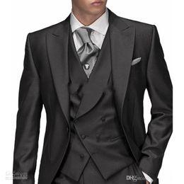 Wholesale 2015 High Quality Black Groom Tuxedos Groomsmen Morning style Man Men Wedding Suits Prom Formal Bridegroom Suit