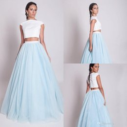 Wholesale Tutu Dress Bridesmaid Dress Two Pieces A Line Floor Length Cheap Simple Formal Prom Gowns Evening Wear Gown Wedding Dress