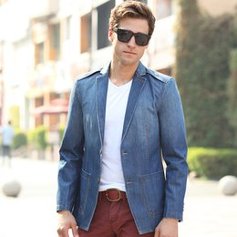 Discount Mens Denim Suit Coat | 2017 Mens Denim Suit Coat on Sale