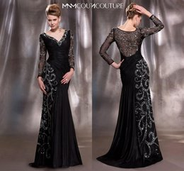 Wholesale 2015 Mother of the Bride Dresses Elegant Black and Gold V Neck Long Sleeve Mermaid Sequins Crystal Beads Chiffon Ruched Evening Dress