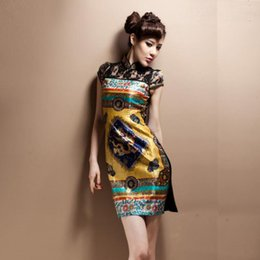 Wholesale married qipao cheongsam personality cheongsam improved short summer lace stitching palace retro daily wear silk