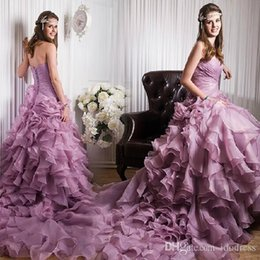 Wholesale 5pc Sweetheart A Line Pleats Tutu Purple Wedding Dresses Sexy Long Fitted Colorful Wedding Dresses