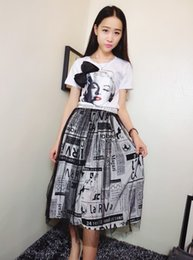 Wholesale Women s Clothing Big Girls Sets European Ladies Star Style Bow Monroe Printed Short Sleeve White T Shirt Long Meshy Tulle Skirts Suits I3521