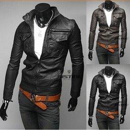 Wholesale Fashion Designer Jackets Men Leather Jackets Men waist coat Winter Warm Jackets Men Trench Coats Lapel Neck High Quality fall coats
