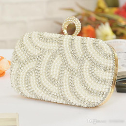 Wholesale Ivory Pearls Beading Diamond Gold Clutch Bridal Hand Bags Chain Formal Evening Hand Bags