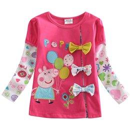 Wholesale Girls T shirt Children Clothing Nova Cute Pig Embroidery T shirt Girl Spring and Autumn Girl Cartoon T shirt F5293Y