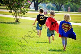 Wholesale 2015 new super hero cosplay Kids Superman Cape Superman Wraps Batman Spiderman Super girl Batgirl Robin kids Christmas Halloween cape