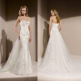 Wholesale 2014 Sweetheart Corset Sleeveless Wedding Dresses Custom Made Appliques Beading Fabulous Designer Bridal Gowns Mermaid Hot Sale Charming