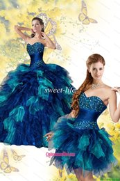 Wholesale 2015 Fashion Two Piece Quinceanera Dresses Detachable Train Colorful Blue Sequins Ruffled Tulle Sweetheart Party Prom Dress Sweet Dresses