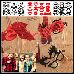 Wholesale 2014 New Arrival Designs Funny Photo Booth Props with lips moustaches glasses Cute fashion for wedding Christmas Party Decorations