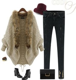 Wholesale Hot Sale Fall Winter Cardigan Poncho Fur Collar Outerwear Women Sweater Knitted Brand Casual Knitwear Jacket Christmas Wear OXL15100702