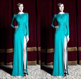 Wholesale Zuhair Murad Aqua Long Sleeves Sexy Prom Dresses Sweep Train High Side Slit Evening Party Gowns Custom Made BO9724