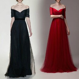 Wholesale Cheap Prom Dresses With Sleeves Red A Line Off the shoulder Lace up Sleeve Black Dresses Party Evening Tulle Prom Gowns under
