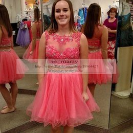 Wholesale Luxury Pink Two Pieces Short Homecoming Dresses A Line Vintage Lace Plus Size Crystals Short Prom Dresses Cheap Formal Party Dresses