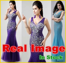 Wholesale 100 Real Image Sexy Luxury Mermaid Prom Dresses with Deep V Neck Backless Crystal Bridal Party Evening Pageant Gowns In Stock YD002