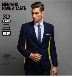 Wholesale Ocasionales adelgazan un botón traje chaqueta de los hombres con los pantalones de traje formal para los hombres solo pecho personalizada Juego de la boda trajes de hombre