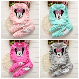 Wholesale Baby Girls Minnie Mouse Print Long Sleeve Tops T shirt Pants Outfits Set