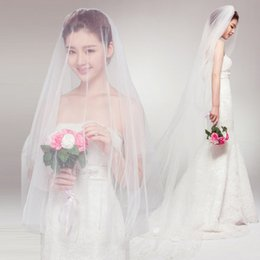 Wholesale Pretty Looking M Long Lace Edged Bridal Veils Vintage Applique New Arrival Wedding Veils Cheap Ivory Top Quality Wedding Accessories