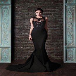 Wholesale Vintage Elie Saab Mermaid Evening Dresses Jewel Sheer Neck Hollow Black Formal Party Dresses With lace Applique Sweep Train