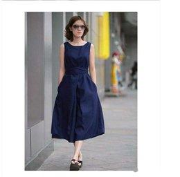 Wholesale New Summer Fall Fashion Women Clothing Europe America Style Sleeveless Large Size Dress Belt Pure Linen Loose Cotton Dress OXL080403