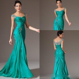 Wholesale Best Selling Mermaid V Neck Floor Length Turquoise Chiffon Cap Sleeve Prom Dresses Beaded Pleats Prom Gowns Evening Dress