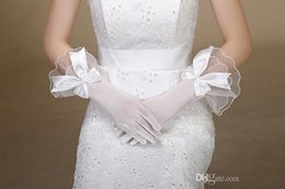 Wholesale Fashion Bow Knot Weeding Gloves Bridal Gloves Simple Sheer White Finger Low Price Popular Cheap Hot Sale Wedding Accessories