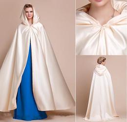 Wholesale Fashion Ivory White Satin Long Bridal Wedding Bridal Wraps Evening Cloak Hood Wedding Hooded Poncho With Hat