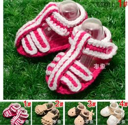 Wholesale 5 pairs New Fashion Baby Crochet Sandals Baby Handmade First Walkers XZ0011