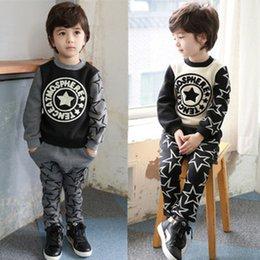 Wholesale 2015 Spring Autumn Korean cotton terry star Printing suit long sleeve t shirt pants piece suits children s casual clothing C001