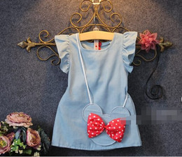 Wholesale 2015 Summer Korean Girls Dresses Flying Flouncing Sleeve Dress with Bowknot Minnie Handbag Casual Vest Dress Child Clothing Blue K4158