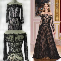 Wholesale Real Photos Zuhair Murad Evening Gowns With Long Sleeve Off The Shoulder See Through Princess A Line Prom Dress Lace Formal Dresses