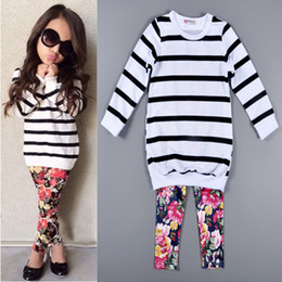 Discount european clothing Cute Baby Kids Girls Clothes Stripe T-shirt Tops + Floral Leggings 2pcs Outfit Sets 2016 Fall Winter Children Girls Clothing Set 201509HX