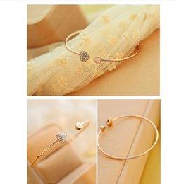 Wholesale Coeur d amour Bangle Or Couleur Coeur Double Bangle Fasion Bijoux pour les femmes élégantes Bijoux de Fasion Simple