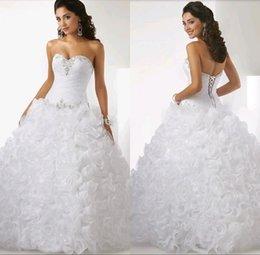 Wholesale Nueva Moda blanco largo Quinceañera vestidos con cuentas de organza riza Formal Prom Debutante del dulce dieciséis de la mascarada de la bola de los vestidos