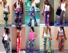 Wholesale Summer Ethnic Print Hip Hop Disco Pants Women Casual High Waist Flare Wide Leg Long Pants Palazzo Trousers Floral Exuma Pant Preppy