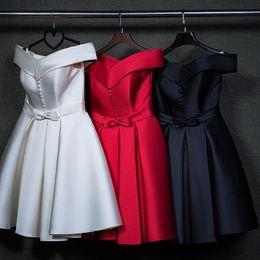 Wholesale elegant button short evening dress2015high quality winter satin sweet knee custom made plus size bride dress