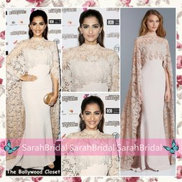 Wholesale 2016 Celebrity Sonam Kapoor Paolo Sabastian Dresses Lace Cloak Mermaid Sheer High Neck Arabic Indian Women Formal Evening Red Carpet Gowns