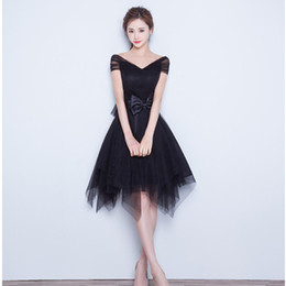 Wholesale Short Black Prom Dress Cap Sleeve Corset Back Little Black Dress Tulle Teens Party Dresses