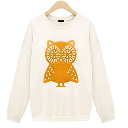 Wholesale 2015 High Quality Sweatshirt Women Fashion Winter Autumn Casual Cute White Owl Animal Print Beading Hoodies Colors Pullover