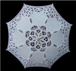 Wholesale Lace Parasols for Children White Ivory Wedding Umbrella New Sun Umbrella Photography props Diameter cm length Beautiful Bridal Accessories