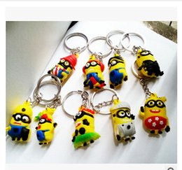 Wholesale 20 colors D Yellow man Minion Doll Keyring Key Ring d minions keychains Despicable Me silicone keychains minions figure keychains m471