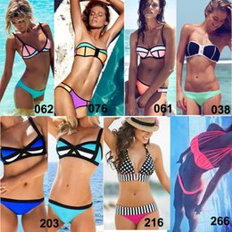 Wholesale 2015 Sexy Women s Triangl Bikini Swimwear D Color Halter Bandeau Swimsuits Triangle Fluorescence Neon Bathing Suit Patchwork Bandage